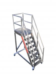 Verrijdbare bordestrap aluminium met open antisliptrede 60 graden type VRTU60