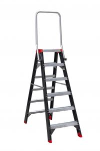 De dubbele oploopbare trappen van Alga, uitgevoerd met zwarte coating✓ Veilig werken op hoogte✓ Dé sterkste professionele dubbele trap voor bouw en industrie✓